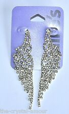 CLAIRE'S, SILVER ANGEL WINGS CRYSTAL LONG DROP EARRINGS