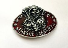 Red Enamel Sons of Anarchy Reaper Belt Buckle suitable for 4cm width belt