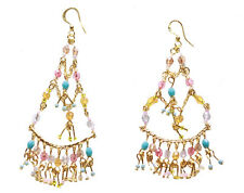 Enchanting Golden & Multi- Colour Beads/chandelier Style Hook Earrings(Zx184)
