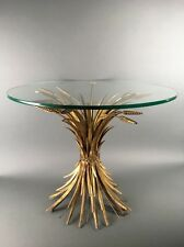 Vintage Italian Hollywood Regency Gilt Metal Sheaf Of Wheat Side Table Base