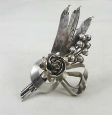 Vintage Nice HOBE Sterling Silver Bouquet Flowers Floral Arrangement Pin Brooch