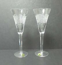 "GORGEOUS PAIR WATERFORD IRISH CRYSTAL ""SPIRIT OF AMERICA"" 9.25"" CHAMPAGNE FLUTES"