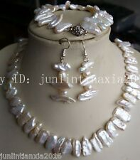New 7x15mm White Natural Baroque Pearl Necklace Bracelet Earring