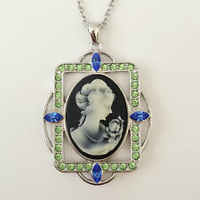 New Vintage Style Angel Cameo Black Oliv Charm Pendant Charm Necklace Gift N1179