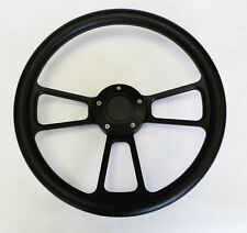 """1965-1969 Ford Mustang Steering Wheel Black on Black Shallow Dish 14"""""""