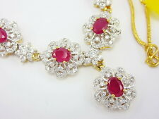"STUNNING RUBY COLOR CZ THAI NECKLACE 17"" 22K 24K Gold GP women Jewelry"