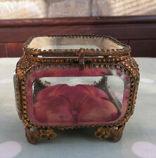 VINTAGE GILT METAL & GLASS BIJOUTERIE / JEWELLERY CASKET / BOX  WITH CUSHION A/F