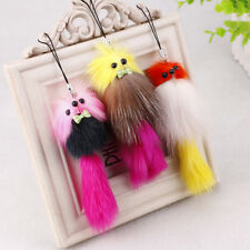 2x Womens Cute Soft Fake Fox Fur Key Chain Keyring Handbag Cell Phone Pendant JS