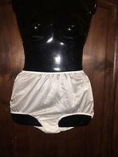 Sears white vintage look brief panty knickers sissy silky plus size 9/2X 43-44