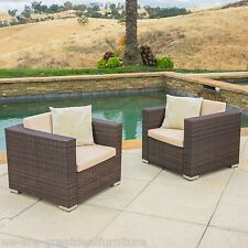 Set of 2 Outdoor Patio Furniture Brown Wicker Sofa Club Chairs