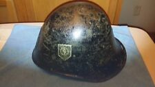 WWII DUTCH MDL 23/27 TeNo HELMET DOUBLE DECAL LION PLATE COLLABORATIONIST RARE