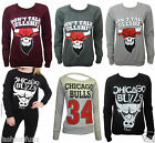 WOMENS LADIES FUNNY TEXTURED CHICAGO BULL PRINT SWEATSHIRT JUMPER TOP SIZE 8/14