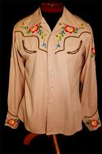 RARE VINTAGE 1950'S BROWN SILK EMBROIDERED GABARDINE WESTERN SNAP SHIRT SZ MED