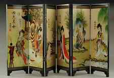 Chinese Lacquer Handwork Painting * Four Beauties * Screen Decor