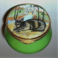 STAFFORDSHIRE ENAMELS BOX - CAT & AUTUMN SCENE - KITTEN -KITTY- MIMI VANG OLSEN