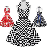 Retro Halter 50's Swing Polka Dots Pin Up Housewife Party Cocktail Vintage Dress