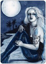 Fantasy Art ACEO PRINT Mermaid Gothic Stars Moon Night Beach Shore Sea WC