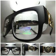 VINTAGE HIP HOP RAPPER GANGSTER PARTY Clear Lens EYE GLASSES Matte Black & Gold