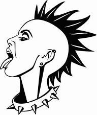 LADY HEAD PUNK ROCKER WITH MOHAWK CAR DECAL STICKER