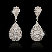Women's Fashion Elegant Crystal Rhinestone Silver Teardrop Dangle Stud Earrings