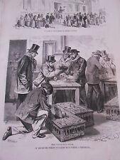 Gravure 1873 - Le Service des pigeons voyageurs de la presse à Versaille