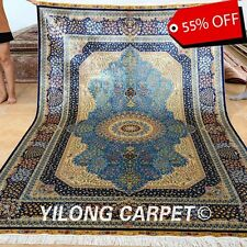 Yilong 6'x9' Persian Silk Rugs Hand Knotted Country Carpets Blue Hand Made 0289