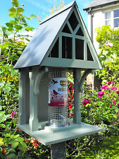 Holly cottage bird feeder, Gothic, designer feeding station, hand made, wooden