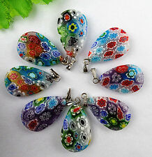 8pcs Beautiful Rainbow Teardrop Millefiori Glass pendant bead  BC1272