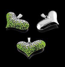 NEU 925 Silber 3D Zirkonia Herz Anhänger Grün Weiss Strass Kette Kristalle