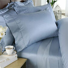 KING BLUE SOLID 4 PIECE BED SHEET SET 800 THREAD COUNT 100% EGYPTIAN COTTON