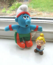 SMURF FIGURE SOFT TOY & SMURFETTE PLASTIC FIGURE MARKED TETLEY