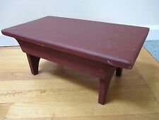 VINTAGE WOOD STOOL SHAKER FOOT BENCH PRIMITIVE COUNTRY FARM MILKING RED PAINT