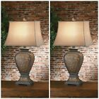 TWO RICH WESTERN RUSTIC TOOLED LEATHER LOOK RESIN TABLE LAMP LINEN SHADE LIGHT