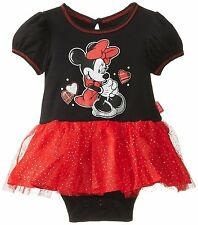 NEW Disney Baby Girls Newborn Minnie Mouse Dress With Glitter Tulle Skirt 0-3M