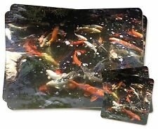 Swimming Koi Fish Twin 2x Placemats+2x Coasters Set in Gift Box, AF-K1PC