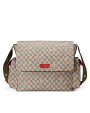 Gucci Strawberry Print GG Canvas Diaper Bag Beige Multicolor New