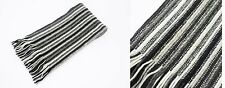 Mens/Ladies 100% Cashmere Black Striped Knitted Scarf Made In Scotland (col 5)