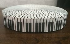 1m piano touches du clavier musical notes de musique noir blanc 22mm gros-grain ruban