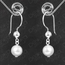Genuine 925 Sterling Silver Ball & White Swarovski Pearl Drop Dangle Earrings