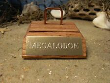 "MEGALODON SUPER MINI SHARK TOOTH FOSSIL STAND GOLD ENGRAVED 2 1/2"" No Tooth"