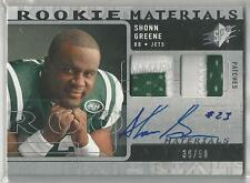 2009 SPX ROOKIE MATERIALS SHONN GREENE RC AUTO DUAL PATCH 39/50!!