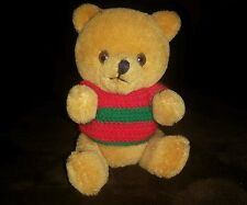 Vintage 1987 Plush Stuffed R. Dakin Bear Red and Green Sweater Stuffed Animal 5""