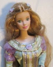 CE BARBIE Doll Pretty super long wavy copper red hair closed lips wearing gown
