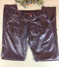 Lip Service Gothic Purple Shimmer Vinyl Faux Leather Stretch Skinny SZ-32 Pants