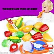 12PC Cutting Fruit Vegetable Pretend Play Children Kid Educational Toy Colorful