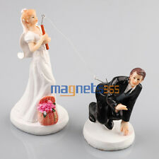 Fishing Bride Groom Couple Figurine Wedding Cake Toppers Decoration Resin DIY