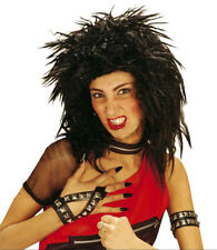BIG BLACK SPIKY PUNK ROCK WIG 80s POP MENS LADIES FANCY DRESS COSTUME PARTY NEW