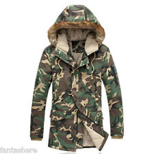 Men's Winter Designer Trench Coat Camo Army Jacket Slim Fit Casual Parka Outwear