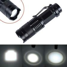 CREE T6 LED Mini Flashlight 14500 AA Torch 2000LM Zoomable Lamp Light Black WT