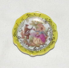 "Limoges Miniature 2.1/8"" Dish Plate: Hand-painted Victorian Scene: Made France"